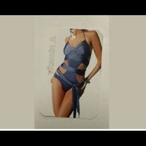 Vitamin A Gun Gray Wrap One Piece Bathing Suit